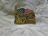 USA Citizenship Award Pin Pinback Statue of Liberty American Flag Gold Tone