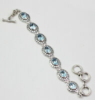 SOLID 925 STERLING SILVER BLUE TOPAZ GEMSTONE PARTY WEAR BRACELET KB1032