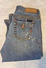 Seven 7 Cropped Distressed Blue Jeans Capri Shorts Size 10
