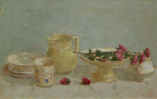 Impressionist Still Life with Roses and Strawberries Original by Alicia Grau