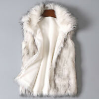 2018 Womens Winter Wool Vest Faux Fur Vest Stand Collar Zipper Coat Vest Jacket