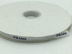 Prada White Cotton Gift Wrap Ribbon 1cm x 100m Embroidered Name