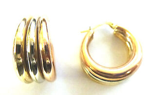 9ct  Three Colour Gold Russian Wedding Hoop Creole                        A23005