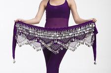 New Belly Dance Costume Hip Scarf Belt velvet & 320pcs Golden Coins 11 Colors