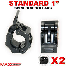 """1"""" STANDARD WEIGHT LIFTING BARBELL DUMBELL BAR SPIN-LOCK COLLAR CLAMPS X 2"""
