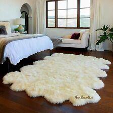 Large Mult-Pelt Sheepskin Area Rug - Shag - White Faux Fur - Soft Plush - 5'x8'