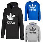 New Adidas Men's Trefoil Hoodie Hooded Pullover Sweatshirt Black Gray Blue S-XL