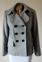Coat Jacket M&S Pale Grey Wool Blend 12 Double Breasted Tailored LIned Flawless