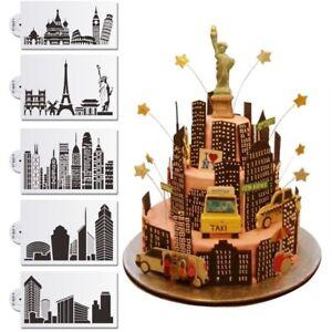 Landmark Building Cake Stencil Newest Cake Design Stencil Fondant Molds Stencil