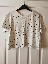ASOS White Polka Dot Cropped T-Shirt Size 16