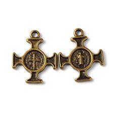 20pcs Tibetan Silver Saint Benedict Medal Jerusalem Cross Charms Pendants Bronze