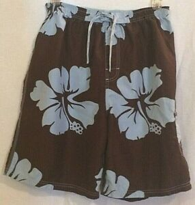 Wise Guy Mens Swim Trunks Size XXL Board Shorts Brown with Blue Hibiscus