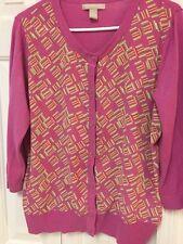 Banana Republic Pink Cardigan Sweater Geometric Print Fabric Sz XL Fits Like Lg