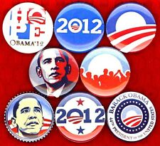 "Barack Obama x 8 NEW 1"" pins button badge 2008 2012 president STOCKING STUFFERF"