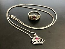 """Sterling Silver 925 Red Heart Ruby Princess Tiara Crown Ring & 24"""" Necklace Set"""