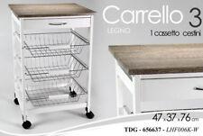 CARRELLO CUCINA H76 CM BIANCO GRIGIO LEGNO CASSETTO 3 CESTE PORTAFRUTTA 656637