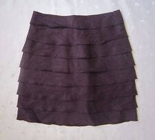 NWOT YALY COUTURE Ruffles Tiered Linen Purple Mini Skirt ~ Size 2 / W26