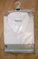 """Mew Mens Pink Slim Fit Cotton Rich Long Sleeve Shirt Neck Size 18"""""""