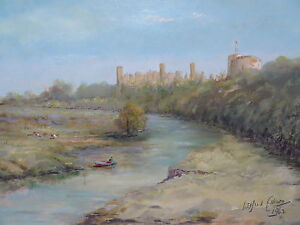 OIL  CASTLE BY THE RIVER ARTIST WILFRED ELLISON 1962  FREE SHIPPING ENGLAND