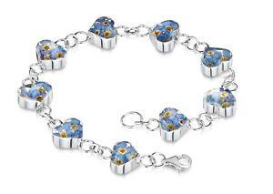 Heart Bracelet 925 silver Forget Me Not 925 Silver Bracelets