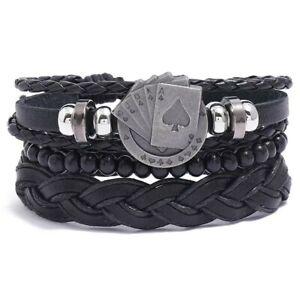 Biker Punk Goth Ace of Spades 3 Piece Hand Made Leather Friendship Bracelet Set