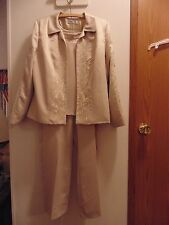 Coldwater Creek Gold Dressy Pant Suit size 12 100% Polyester