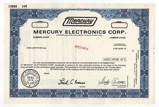 SPECIMEN - Mercury Electronics Corporation Stock Certificate