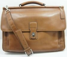 COACH Barclay Brown Leather Briefcase Business Bag With Shoulder Strap 6456