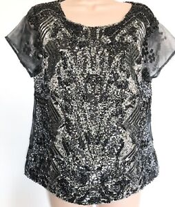 All Saints Top 12 Hand Embellished  Party Blouse Shirt Beaded Black Gray Sequin