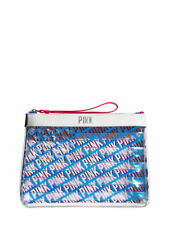 VICTORIAS SECRET PINK AMERICANA CLEAR COSMETIC BEAUTY TRAVEL BAG CASE NWT