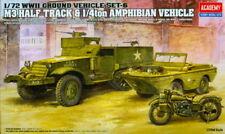 Academy 1/72 13408 WWII US M3 Half-Track & 1/4ton Amphibian Vehicle & Motocycle