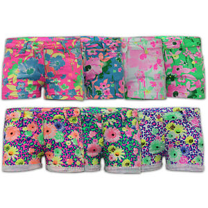 Girls Shorts Kids Floral Neon Print Hot Pants Roll Up Stretch Children Summer