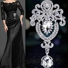Large Flower Bridal Brooch Rhinestone Crystal Diamante Party Silver Broach Pin D