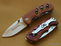 BROWNING COCOBOLO WOOD HANDLE FOLDING KNIFE 3 INCH CLOSED WITH POCKET CLIP