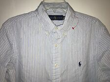 Ralph Lauren Dress Shirt Sz 16 Long Sleeve Blue White Striped Oxford Cotton Mens