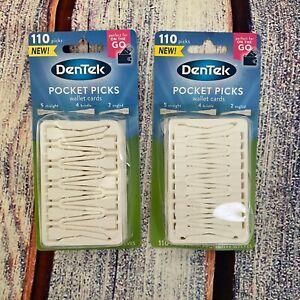 2x DenTek Pocket Picks WALLET Cards 220 Picks Total New Travel On The Go