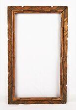 """Antique Folk Art Black Forest Adirondack Wood Carved Picture Frame 20"""" x 11"""""""