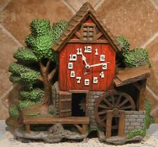 Spartus Water Wheel Mill Wall Clock~1960s~Changed To Battery Op~Keeps Time!