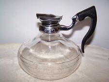 New listing Vintage Cory Dpl Glass Teapot With Flip Lid And Bakelite / Plastic Black Hande