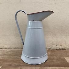 Vintage Belgium Enamel pitcher jug water enameled white red 28101813