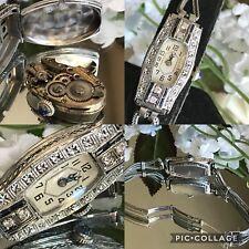 1920's Ladies Art Deco 18K Sapphire & Diamond Clermont Watch~Wire Cord Band
