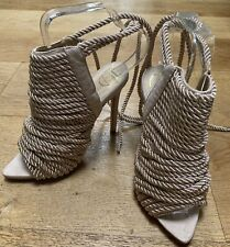 NUDE ROPE GLADIATOR SANDALS NEW UK 3 STILETTO SUMMER TOWIE CLUBBING IBIZA PARTY