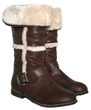 LADIES BROWN MID CALD LENGTH FUR LINED BOOT WITH FUR COLLAR IN SIZE 3-8