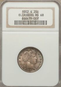 1902-S Barber Quarter, MS68  NGC The Sole Finest Certified
