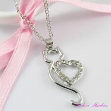 Silver Tone Rhinestone Cat Heart Necklace 42cm