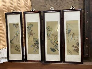 4 X Handpainted Framed Chinese Bird Pictures Japanese