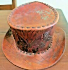 New listing Irish 1 of a kind Leather top hat hand stitched and butterfly front engraved