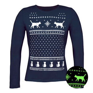 Glow in the Dark Christmas Cats long sleeve navy tshirt- Alternative to a jumper