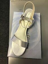 """Coloriffics Bridals Lauren White Satin Open Toe 2"""" Heel Wedge Sandal size 12 M"""