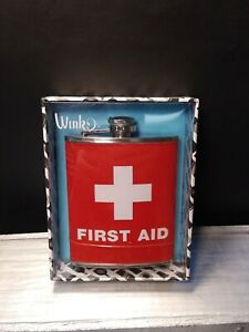 Wink Stainless Steal First Aid Hip/Pocket Flask 7 Ounces by Wild Eye Designs